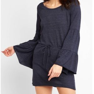 CHASER Bell Sleeve Dress Navy Knit Drawstring NWT